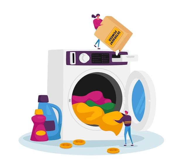 Piccoli personaggi maschili e femminili nella lavanderia pubblica che caricano vestiti sporchi e detersivo in polvere