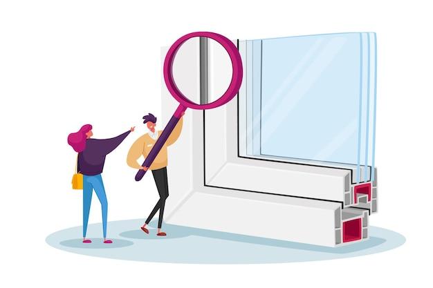 Piccoli personaggi maschili e femminili con un'enorme lente d'ingrandimento guardando un campione di profilo finestra pvs con triplo vetro ermetico