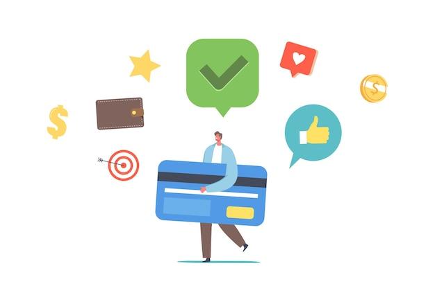 Tiny man carry huge card ha un buon punteggio di credito. pagamento senza contanti o trasferimento di denaro. transazione bancaria. personaggio maschile che utilizza i servizi bancari per lo shopping. cartoon persone illustrazione vettoriale