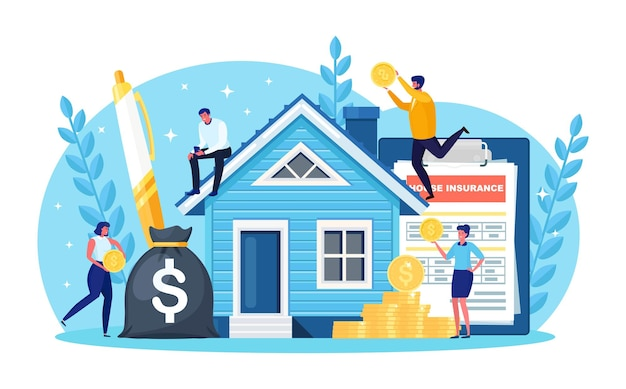 Minuscole persone che comprano casa indebitate. persone che investono denaro in proprietà. mutuo ipotecario, proprietà e risparmio. investimenti immobiliari, acquisto casa