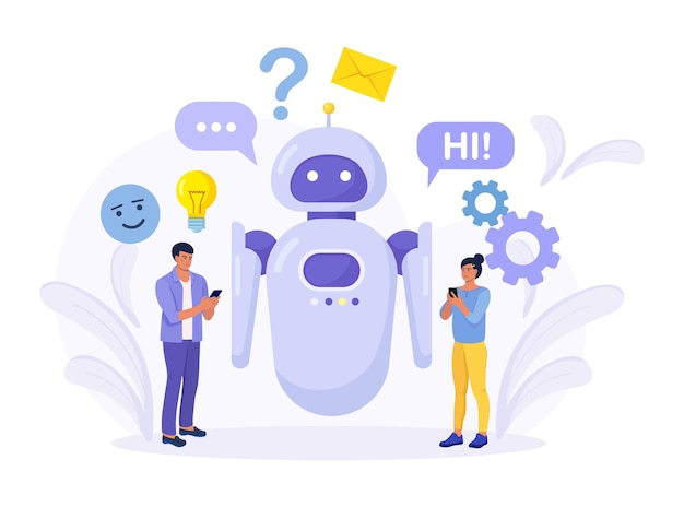 Piccole persone che chattano con l'applicazione chatbot. assistente robot ai, assistenza clienti online. chat bot assistente virtuale tramite messaggistica ingegneria dell'informazione, intelligenza artificiale e concetto di faq