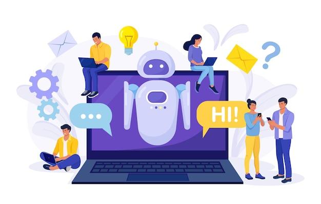 Piccole persone che chattano con chatbot sul laptop. assistente robot ai, assistenza clienti online. chat bot assistente virtuale tramite messaggistica ingegneria dell'informazione, intelligenza artificiale e concetto di faq