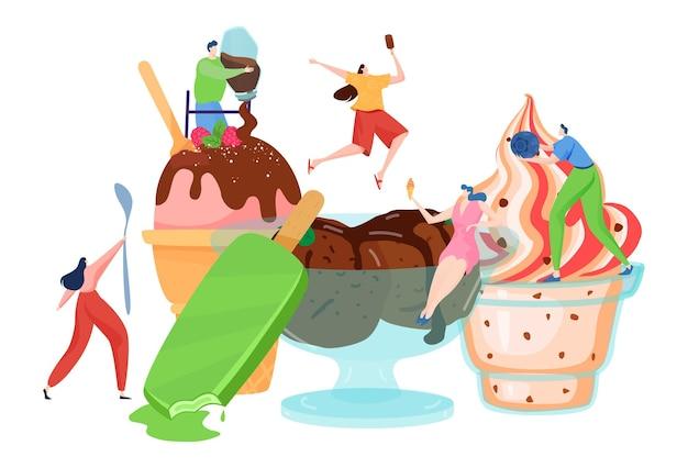 Persone minuscole decorano il gelato Vettore Premium