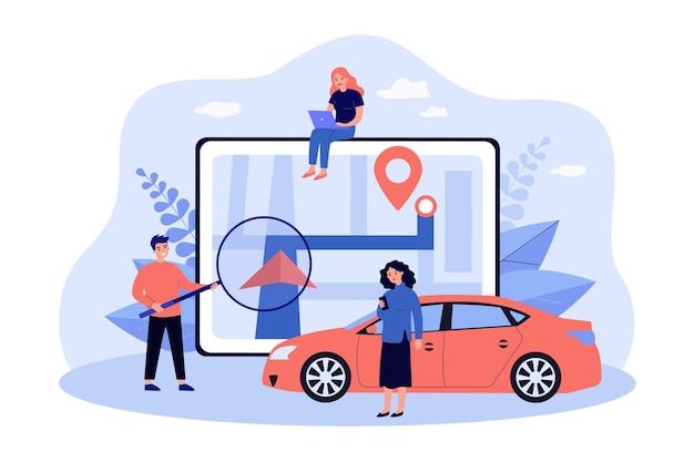 Persone minuscole e gps con illustrazione piatta gigante mappa della città