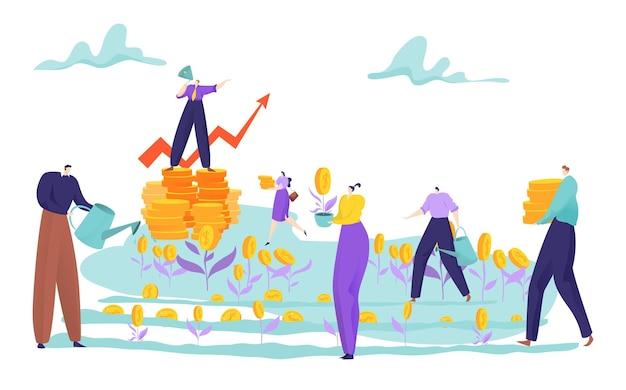 Persone minuscole coltivano soldi sul concetto di campo Vettore Premium
