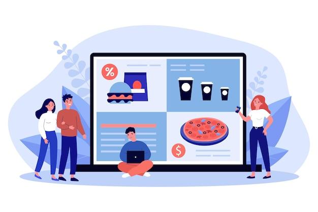 Piccole persone che ordinano cibo online sul laptop. amici sorridenti che acquistano fastfood utilizzando l'applicazione internet sul computer da casa. concetto di servizio di consegna. illustrazione del fumetto piatto vettoriale.