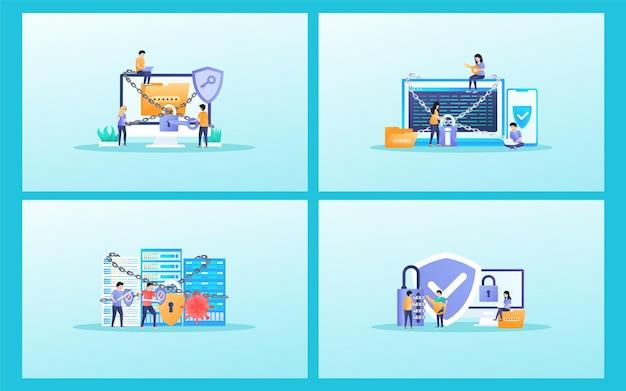 Piccole persone che proteggono i dati aziendali in un'illustrazione piatta