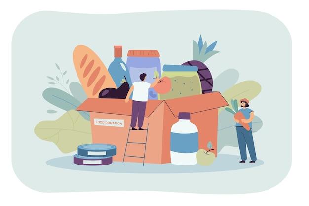 Minuscole persone con una scatola di generi alimentari per beneficenza