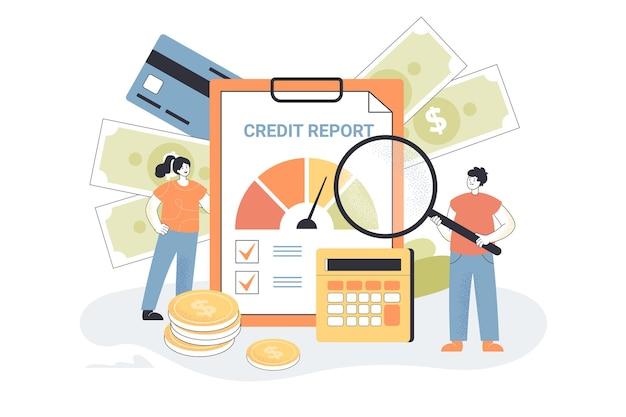 Piccole persone con un rapporto di credito