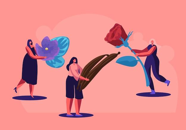 Piccoli personaggi del profumiere che tengono gli ingredienti per la creazione di una nuova composizione di profumi illustrazione di rose, fiori viola e bastoncini di vaniglia