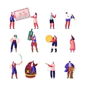 Set di caratteri di piccoli pirati e viaggiatori.