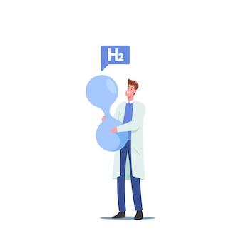 Piccolo personaggio maschile scienziato che tiene un'enorme molecola di h2, idrogeno che produce carburante in un laboratorio chimico, carburante del futuro