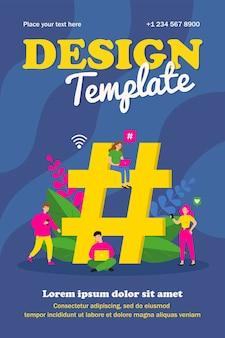 Piccoli utenti di social media con gadget e hashtag enormi. gruppo di persone che utilizzano laptop e poster di smartphone