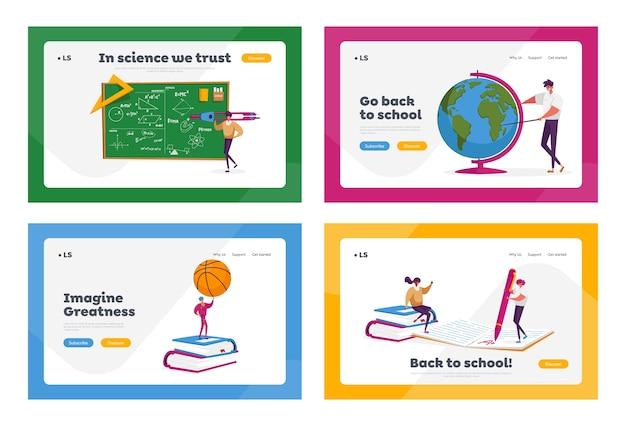 Personaggi di piccoli insegnanti con set di modelli di pagina di destinazione di strumenti educativi