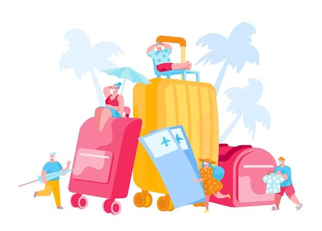 Personaggi di piccoli turisti in enormi bagagli e biglietti