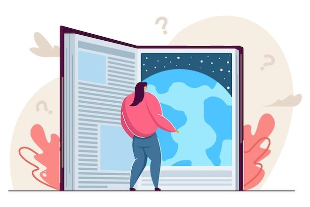 Piccola donna che legge un libro di fantascienza gigante sorprendente