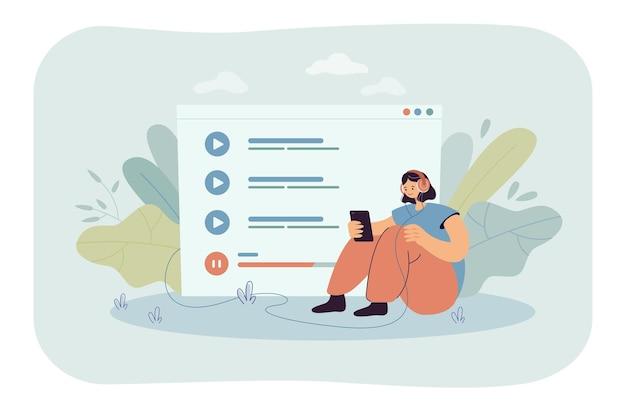 Piccola donna seduta e ascoltando musica sul telefono cellulare isolato illustrazione piatta