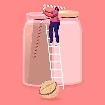 Carattere vegano di piccola donna sta sulla scala che beve latte senza latticini fatto di noci