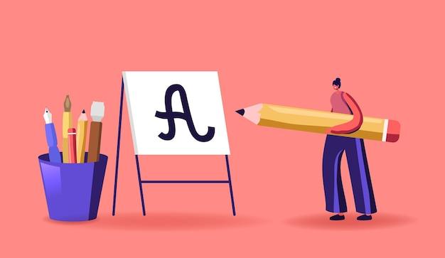 Piccola donna con penna enorme che si esercita nell'illustrazione di lettere e calligrafia ortografica