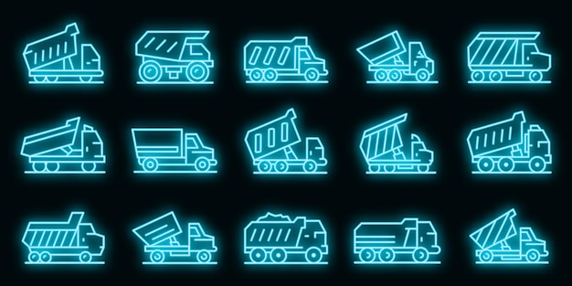 Set di icone del ribaltabile. contorno set di icone vettoriali per ribaltabile colore neon su nero