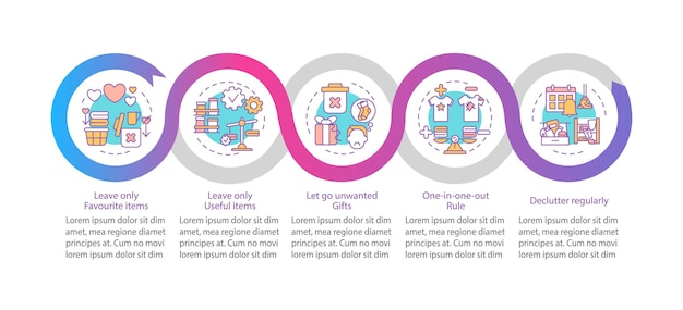 Suggerimenti per decluttering modello di infografica. lascia oggetti utili elementi di design di presentazione. visualizzazione dei dati con 5 passaggi. elaborare il grafico della sequenza temporale. layout del flusso di lavoro con icone lineari