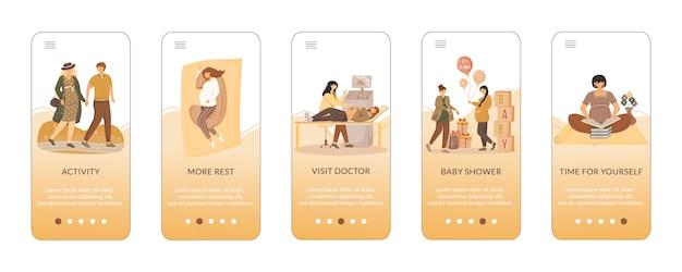 Suggerimenti per un modello di schermata dell'app mobile onboarding gravidanza felice.