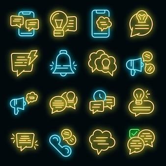 Suggerimenti set di icone. contorno set di suggerimenti icone vettoriali colore neon su nero