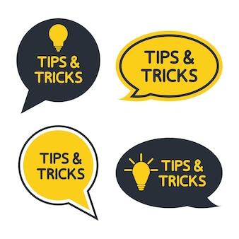 Suggerimenti e trucchi suggerimenti utili tooltip set di trucchi soluzione suggerimenti utili forme di testo