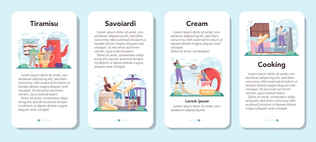 Il banner dell'applicazione mobile per dessert al tiramisù ha impostato le persone che cucinano deliziose