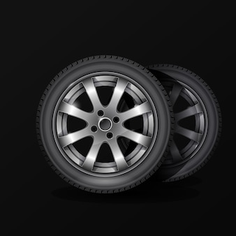 Poster di servizio di montaggio pneumatici, pneumatico per ruote auto con cerchione in lega su nero