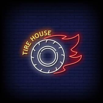 Tire house insegne al neon stile testo vettoriale