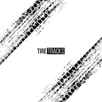 Illustrazione delle tracce di pneumatici impronte di ruote di automobile di grunge nero su sfondo bianco