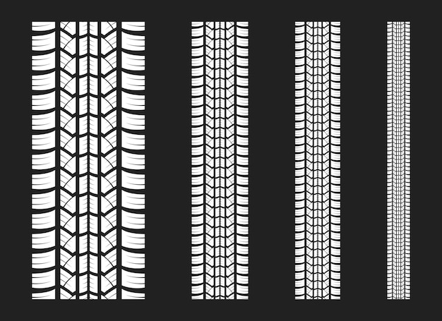 Tracce di pneumatici disegno vettoriale illustrazione isolato su sfondo