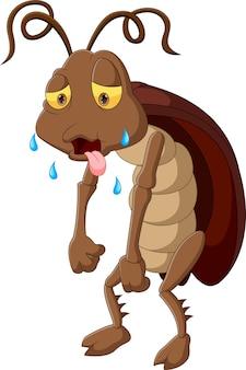 Cartone animato stanco scarafaggio isolato su sfondo bianco