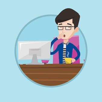 Impiegato stanco che lavora nell'ufficio.