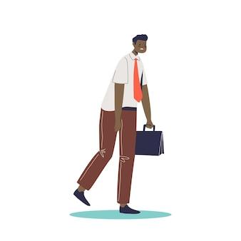 L'impiegato d'ufficio stanco esausto dell'uomo d'affari va al lavoro sentendosi infelice e frustrato. concetto di burnout professionale. cartoon piatto illustrazione vettoriale