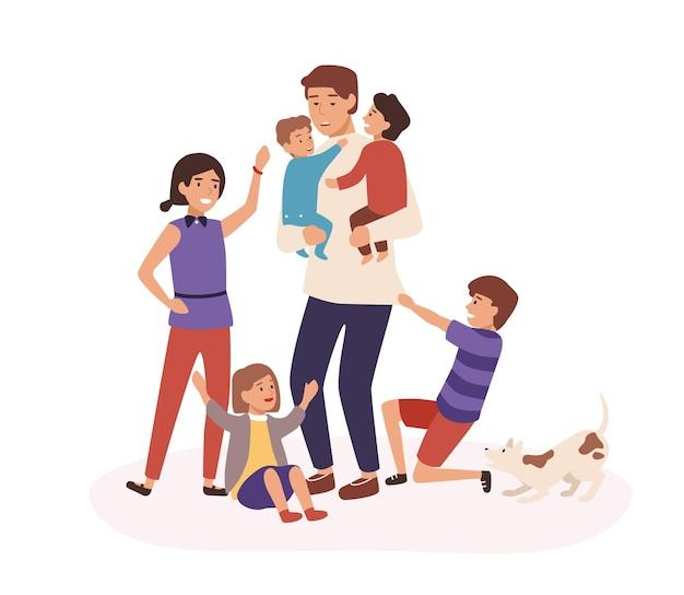 Padre stanco che ha molti bambini illustrazione vettoriale piatta. papà seduto a casa con i bambini. stanchezza, stanchezza, concetto di burnout. uomo esausto e personaggi dei cartoni animati per bambini indulgenti.