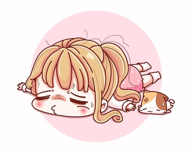 Ragazza stanca esaurita e disegno del personaggio dei cartoni animati.