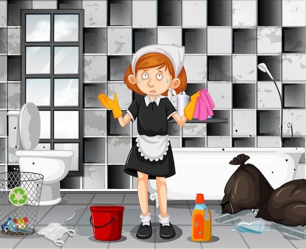 Un bagno di pulizia cameriera stanco