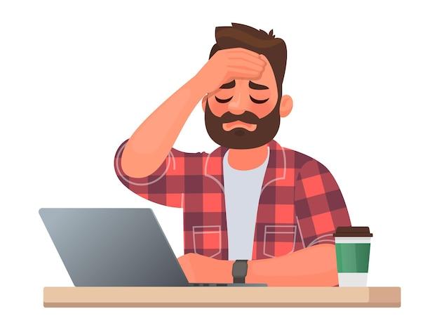 Uomo stanco al desktop. mal di testa o malattia sul lavoro. superlavoro e difficoltà di un impiegato. illustrazione vettoriale in stile cartone animato