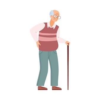 Uomo anziano stanco anziano personaggio maschile malsano con bastone da passeggio