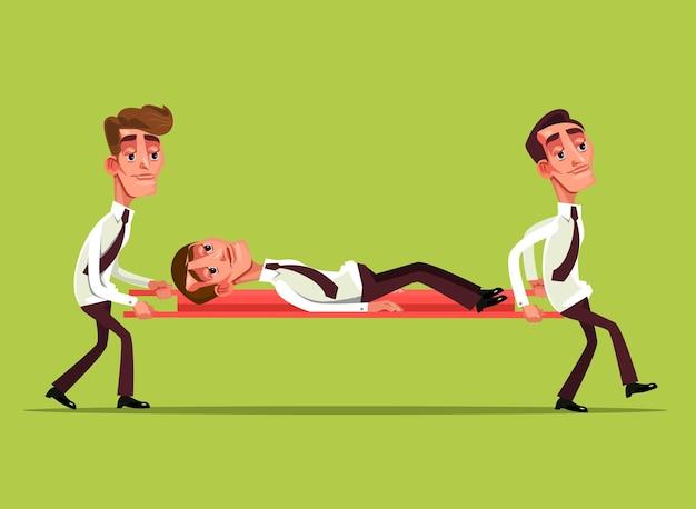 Carattere di lavoratore di ufficio uomo d'affari triste stanco si trova sulla barella e il collega lo porta