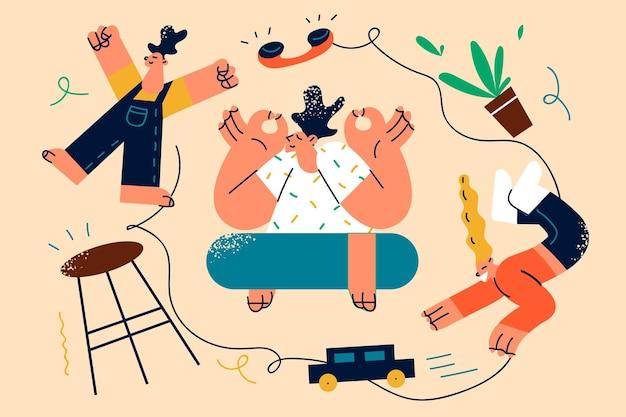 Illustrazione di stanchezza e meditazione