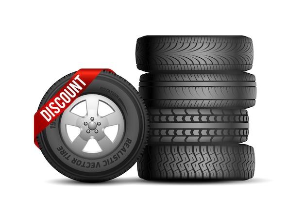 Sconto pneumatici. ruote per auto in gomma realistiche isolate. assistenza e riparazione auto. pneumatico con illustrazione di vettore del nastro di vendita. promo pneumatici per auto, negozio di gomma per il trasporto