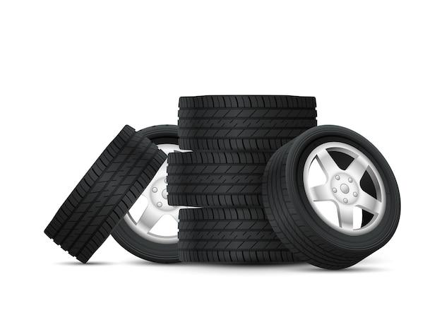 Illustrazione di design mucchio di pneumatici