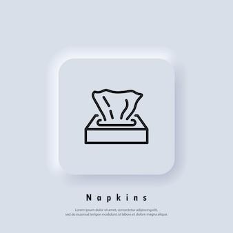 Icona della scatola di carta velina. icona del tovagliolo. salviette le icone. vettore. icona dell'interfaccia utente. pulsante web dell'interfaccia utente bianca ui ux neumorphic. neumorfismo
