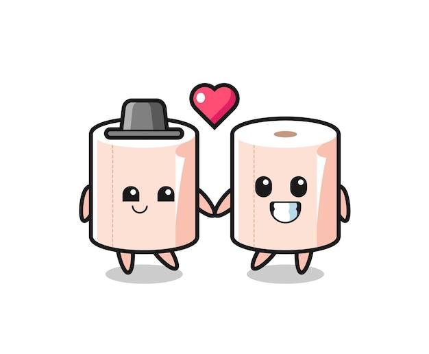 Coppia di personaggi dei cartoni animati in rotolo di tessuto con gesto di innamoramento, design carino