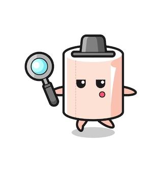 Personaggio dei cartoni animati in rotolo di tessuto che cerca con una lente d'ingrandimento, design carino