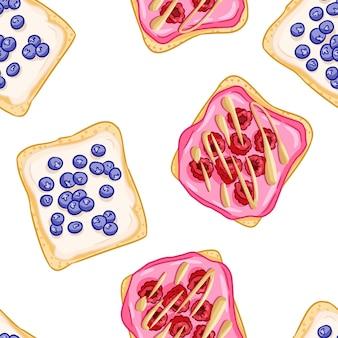 Panini di pane tostato modello di bordo senza giunte in stile fumetto. panini con mirtilli frutti di bosco e carta da parati lamponi. piastrella texture di sfondo cibo colazione