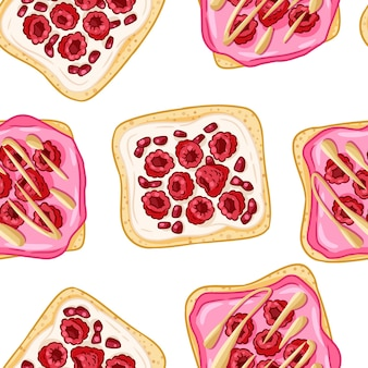 Panini di pane tostato modello di bordo senza giunte in stile fumetto. panini con lamponi e carta da parati con semi di granato. piastrella texture di sfondo cibo colazione